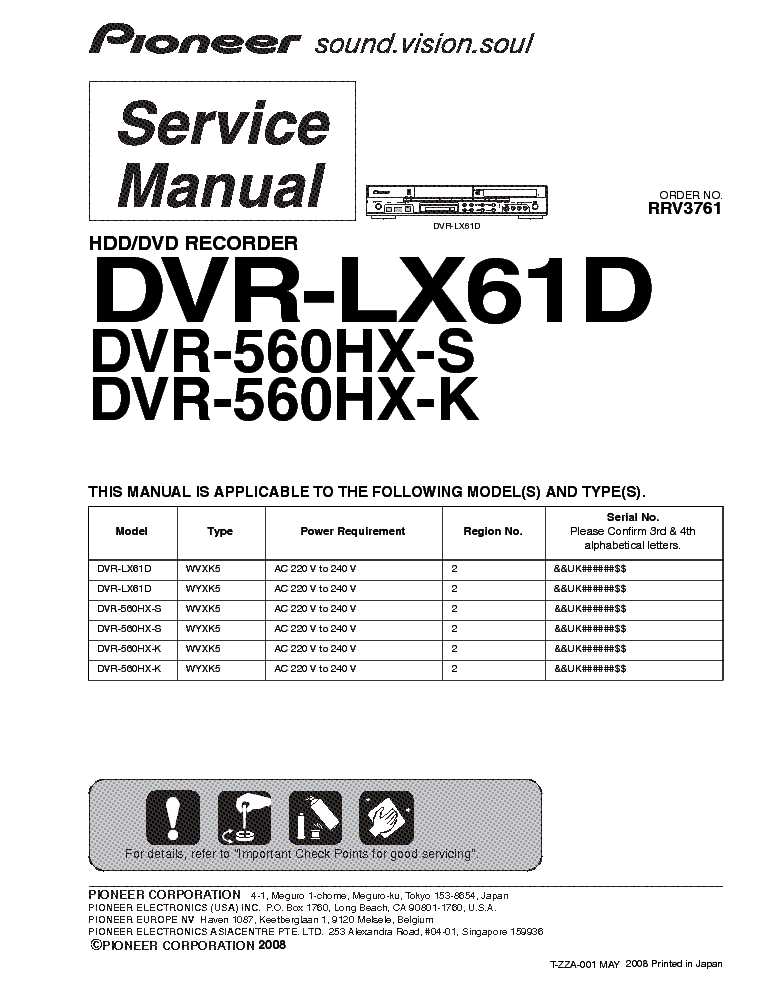 pioneer dvr lx61d dvr 560hx s dvr 560hx k service manual download rh elektrotanya com pioneer dvr-433h manual pioneer dvr-440h manual