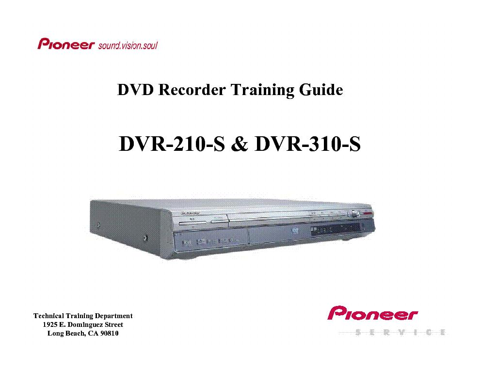 pioneer dvr 210 s dvr 310 s training guide service manual download rh elektrotanya com Magnavox HDD and DVD Recorder TV DVR Recorders Walmart