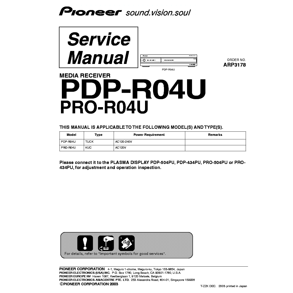pioneer pdp r04u pro r04u service manual download schematics rh elektrotanya com Pioneer Receiver Manuals 1131 Discontinued Pioneer Receivers