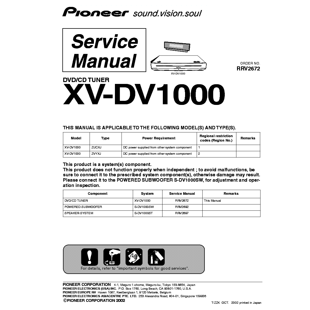 PIONEER XR560F - Service Manual Immediate Download