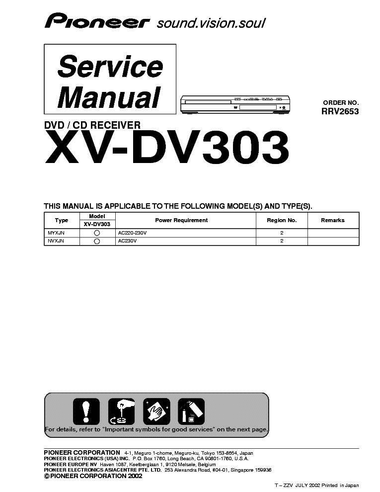 pioneer xv dv303 dvd service manual download schematics eeprom rh elektrotanya com Insignia TV DVD Manuals Insignia TV DVD Manuals