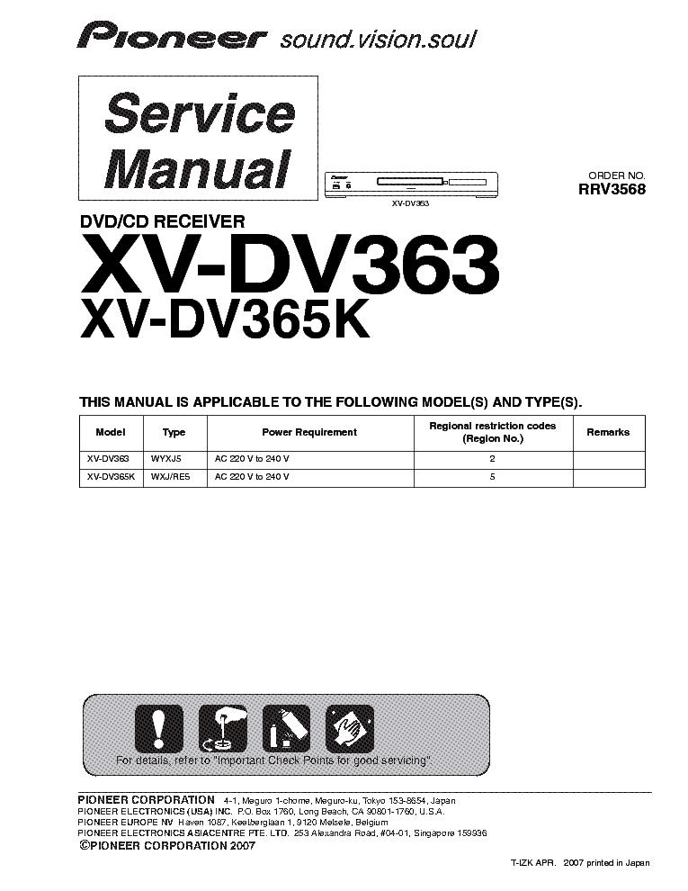 pioneer xv dv363 dv365k rrv3568 sm service manual download rh elektrotanya com Service ManualsOnline Customer Service Books