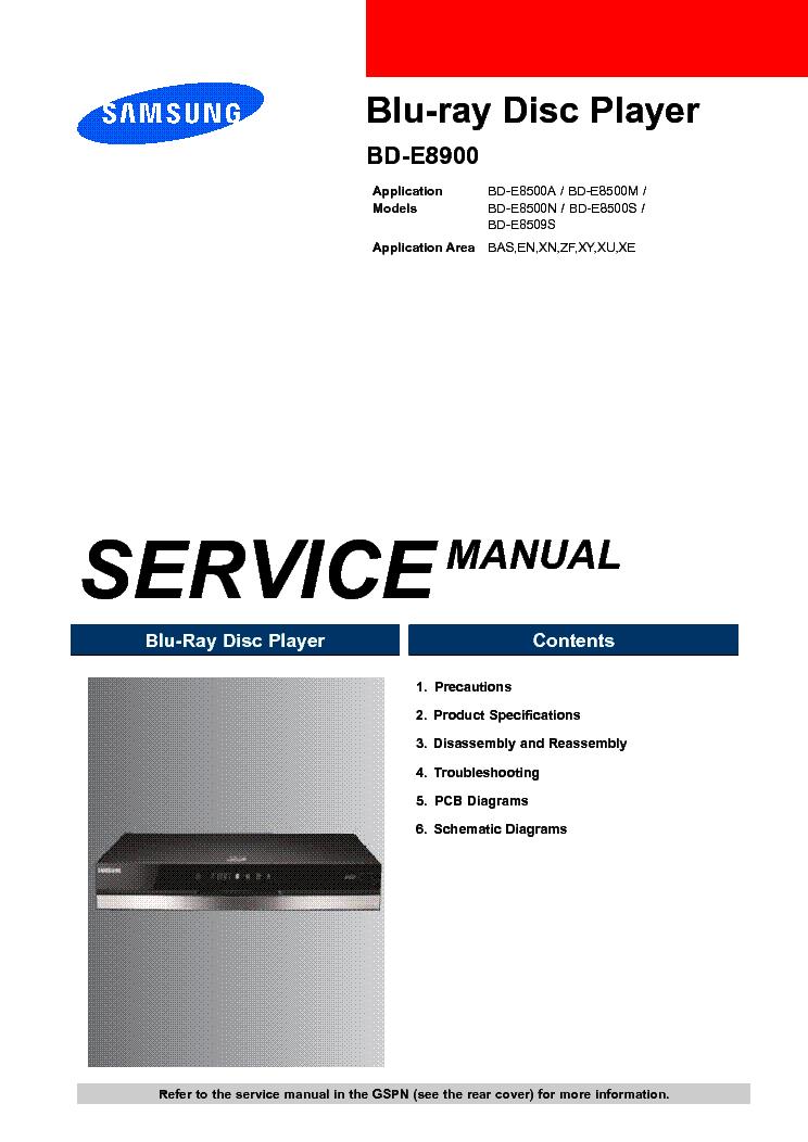 Samsung bd-e8900 bd-e8500 bd-e8509s blu-ray service manual.
