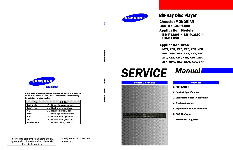 samsung bd p1600 p1620 p1650 service manual repair guide