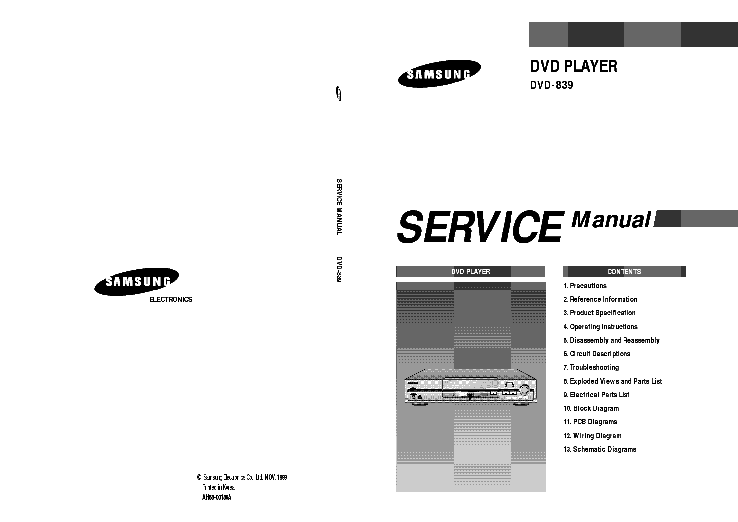 SAMSUNG DVD-839 service manual (1st page)