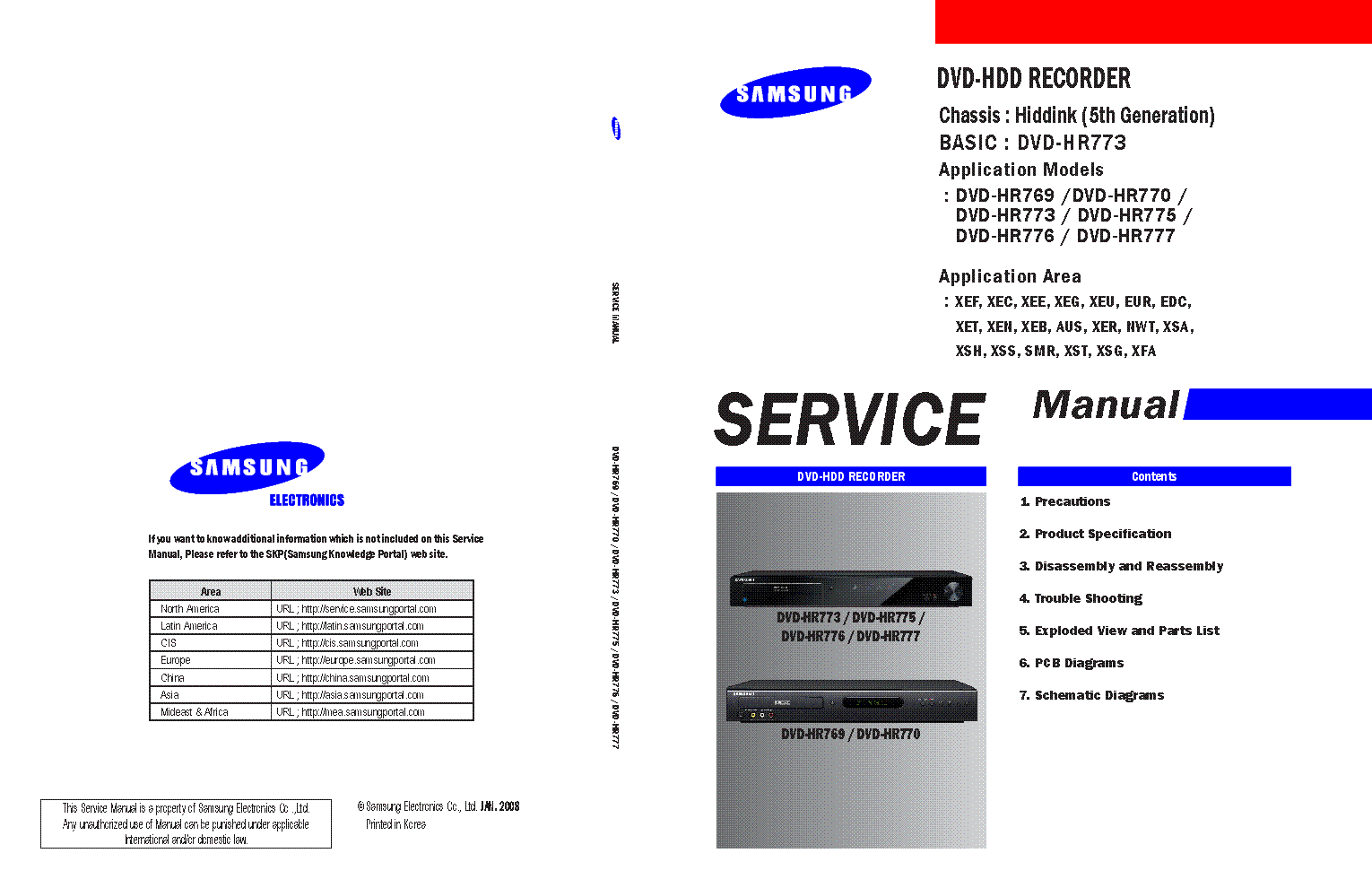 samsung dvd hr773 dvd hdd recorder service manual download