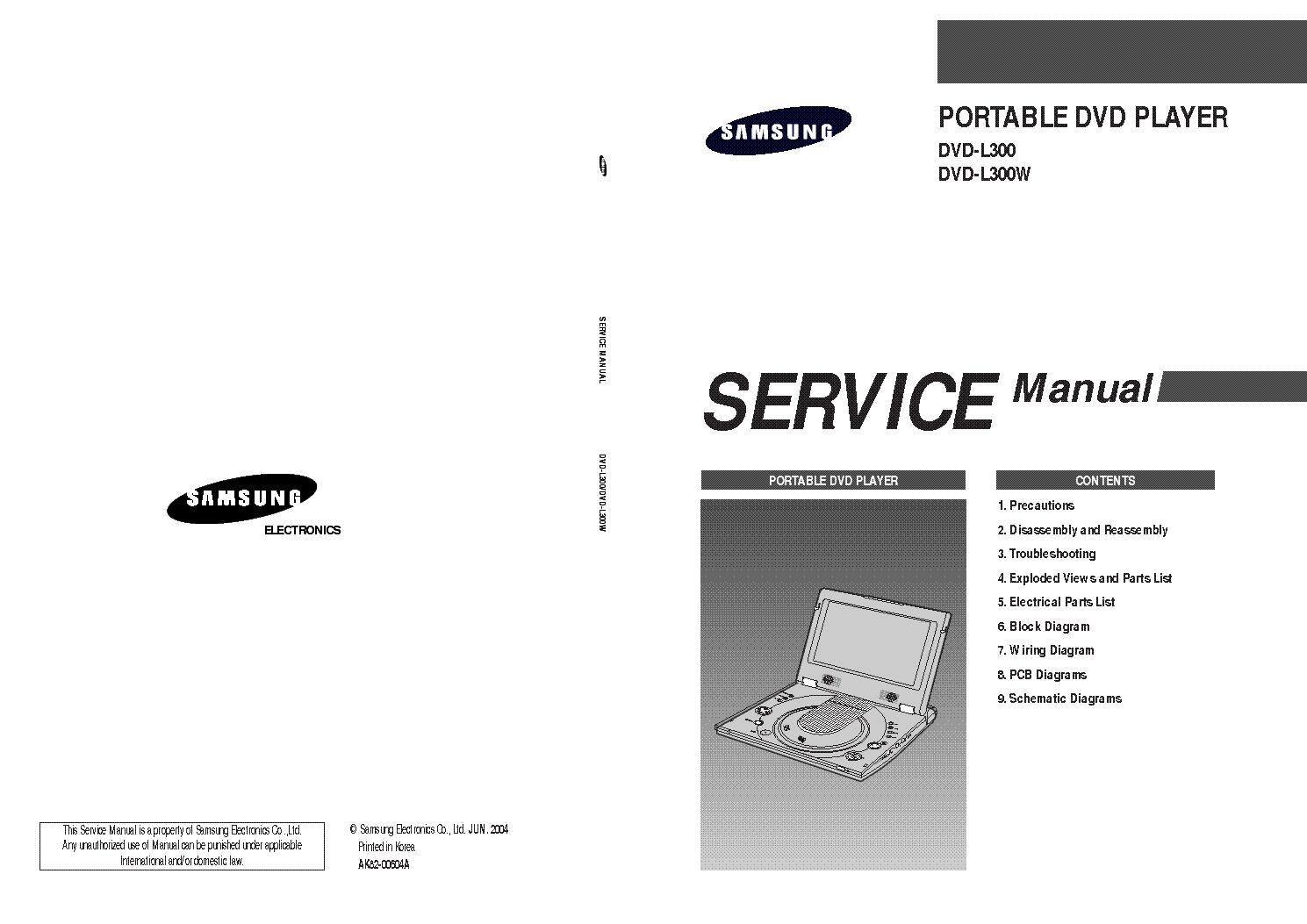 Samsung Dvd L300 L300w Sm Service Manual Download Schematics Wiring Diagram 1st Page