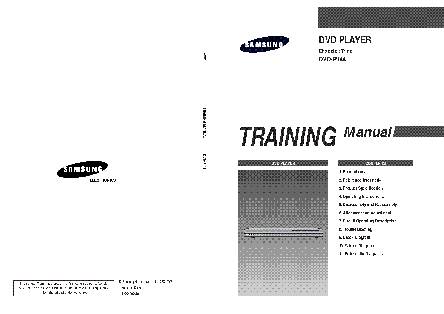 Samsung Dvd P144 Training Service Manual Download Schematics Wiring Instructions 1st Page