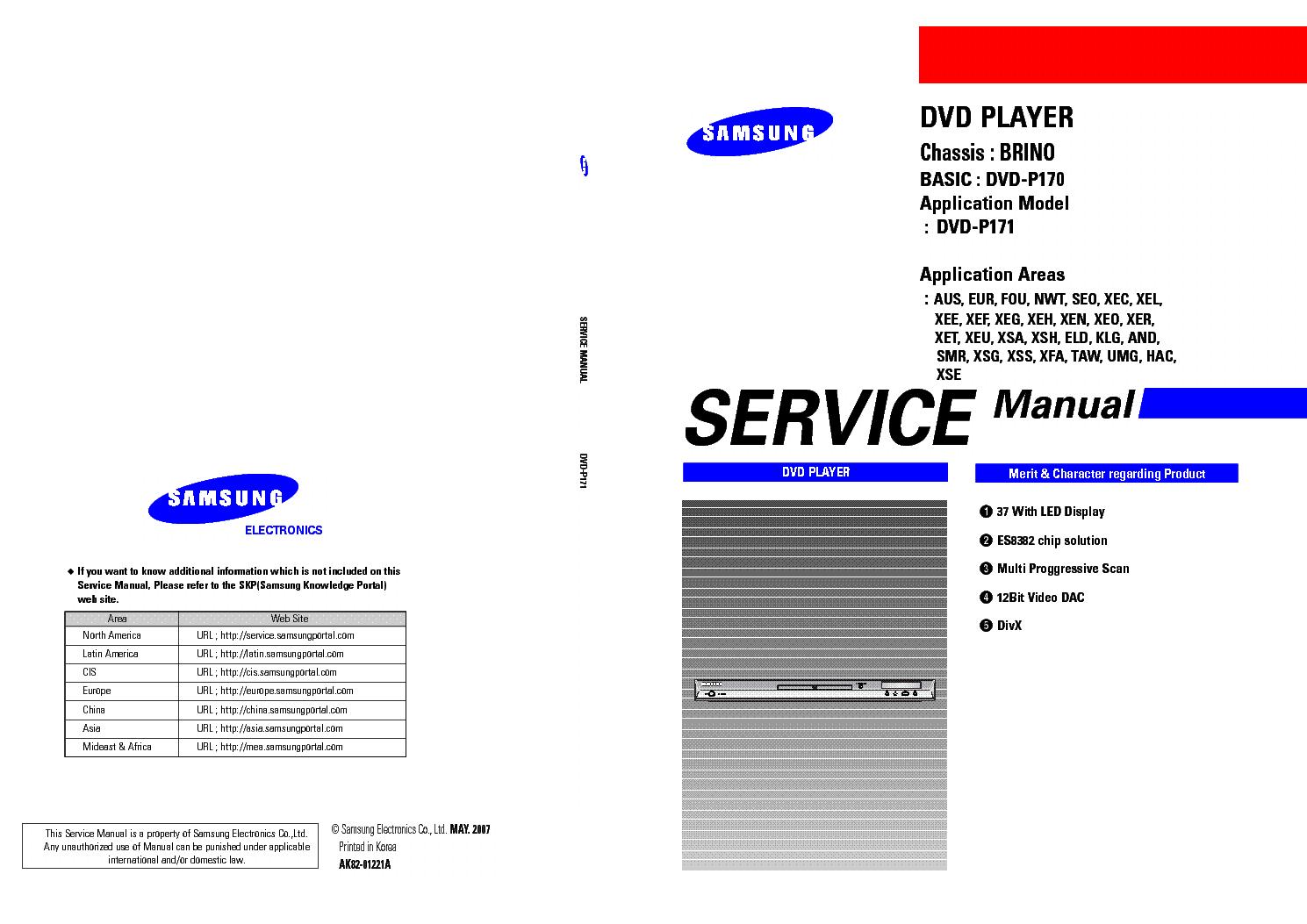 samsung dvd p170 dvd p171 chassis brino sm service manual download rh elektrotanya com Samsung DVD Players Manu Blue Samsung DVD Player Manuals