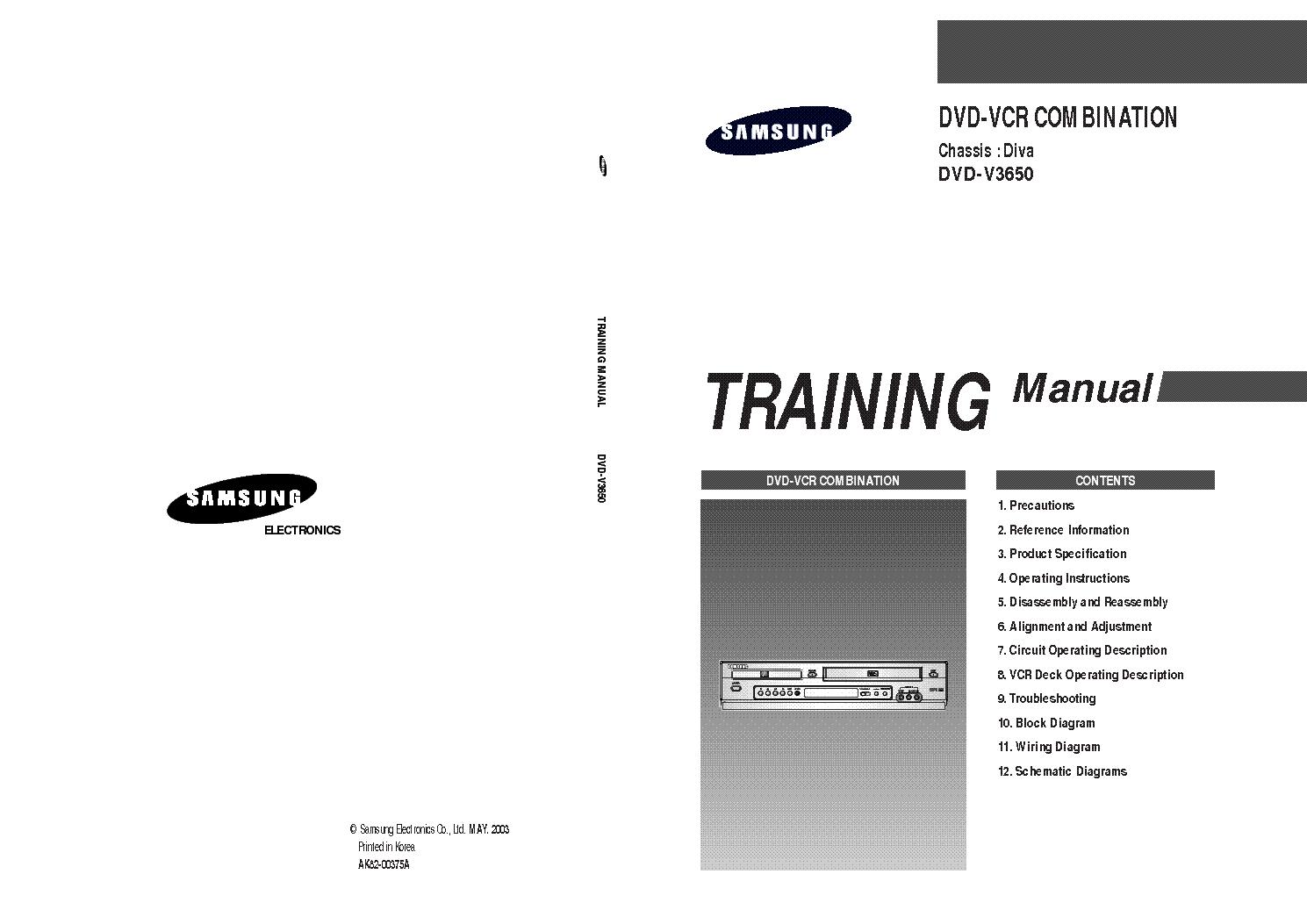 samsung dvd v3650 chassis diva training manual service manual rh elektrotanya com Samsung TV Component Cable Samsung Dryer Troubleshooting Manual