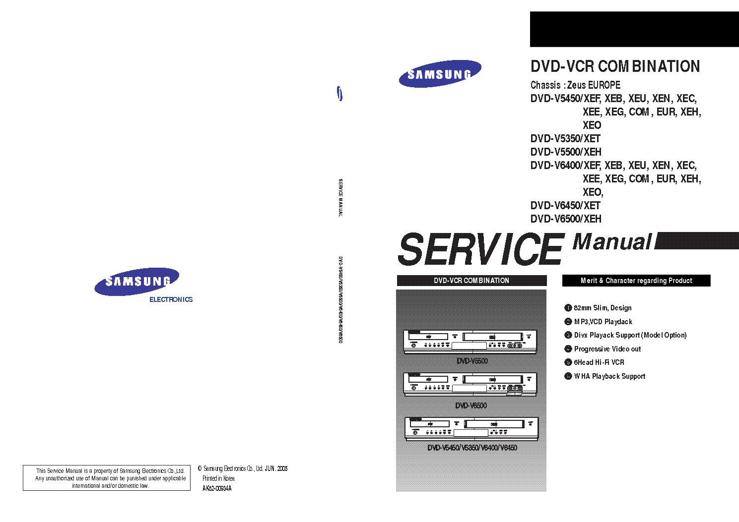 samsung dvd v5450 v5350 v5500 v6400 v6450 v6500 sm service manual rh elektrotanya com samsung 5500 manual series 5 samsung v5500 manual