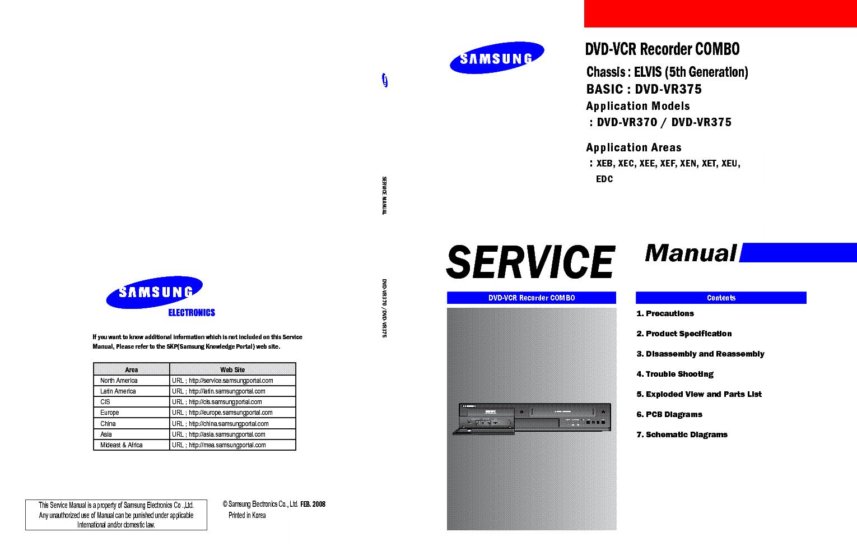 samsung dvd vr370 dvd vr375 chassis elvis 5th generation service rh elektrotanya com samsung dvd d530 service manual samsung dvd vr330 service manual