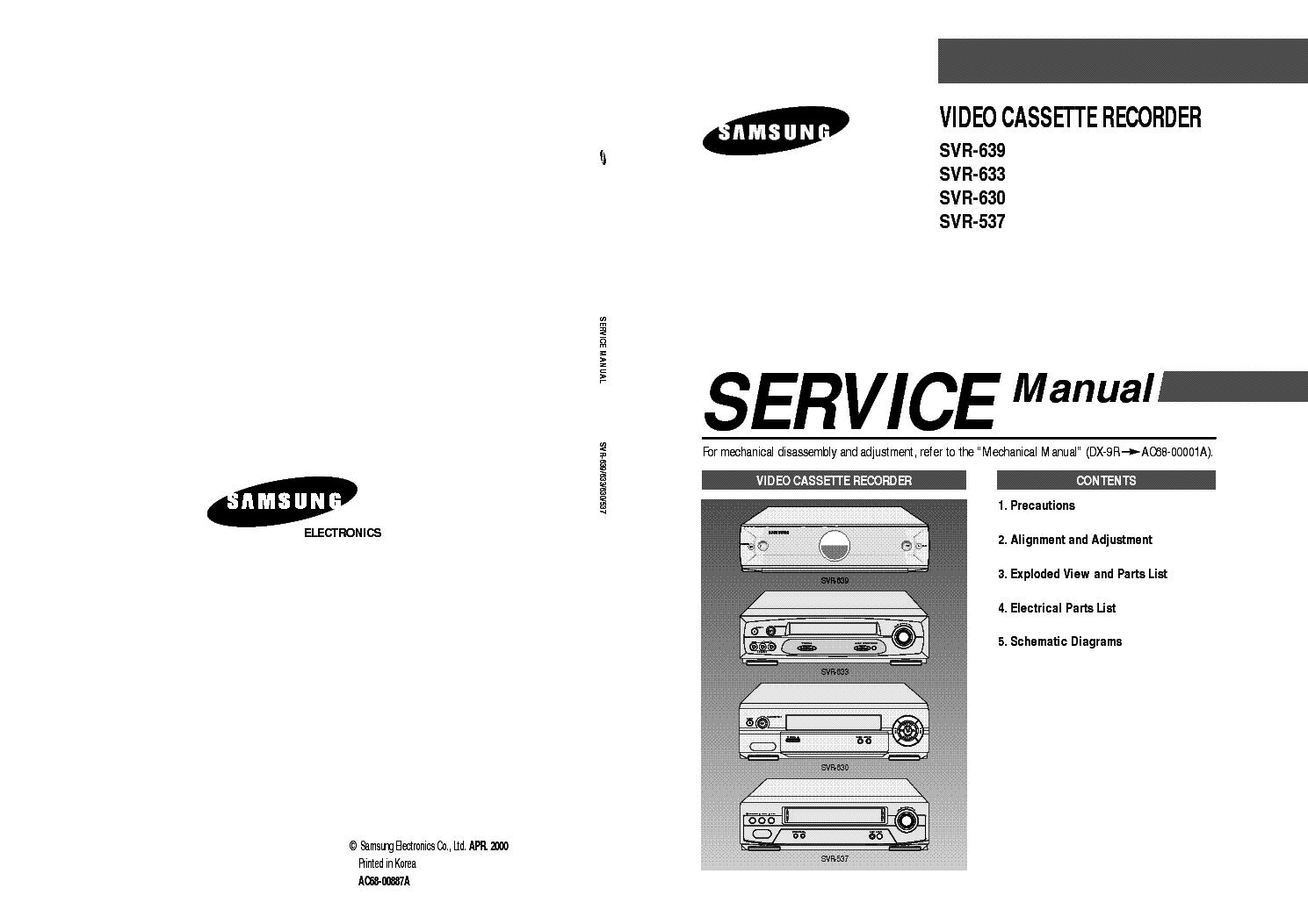 samsung svr 639 svr 633 svr 630 svr 537 vcr service manual download rh elektrotanya com samsung 630 manual samsung 6300 manual