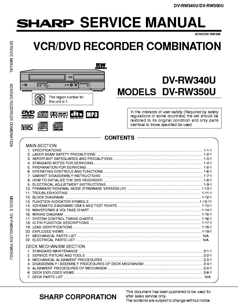 sharp dvd vcr combi dv rw340 350u service manual download rh elektrotanya com Sharp VCR Remote Sharp VCR Remote
