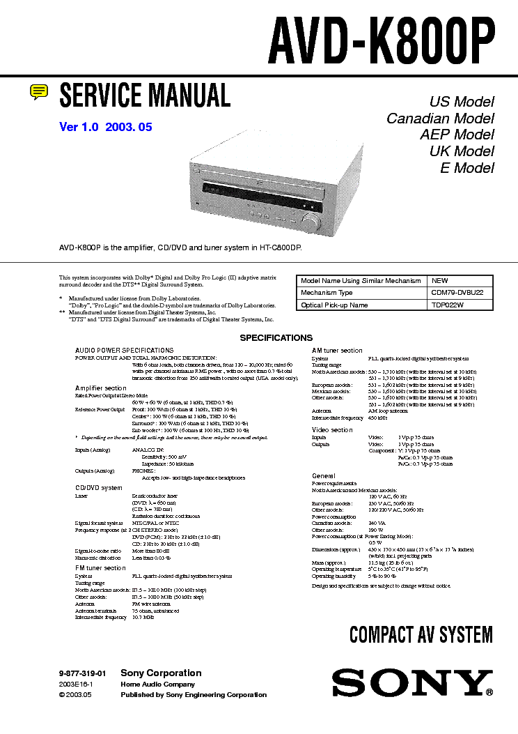Sony avd-k800p 5 dvd changer/receiver manuals.