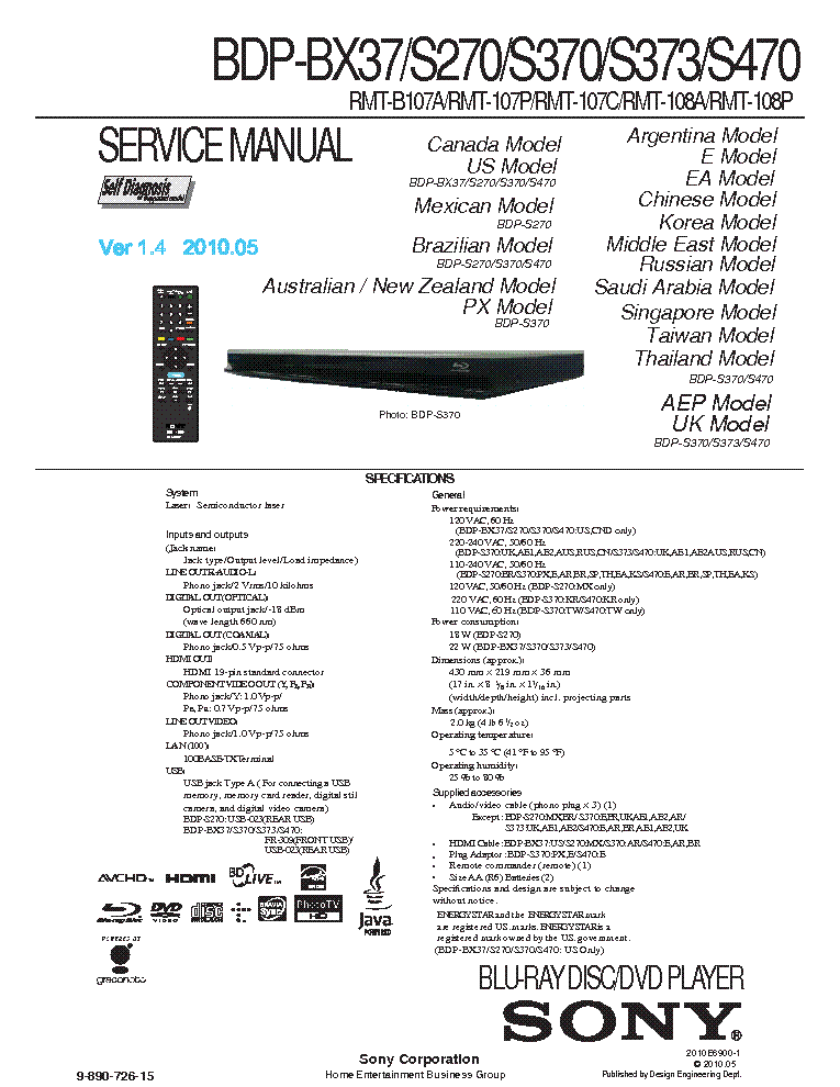 sony bdp bx37 s270 s370 s470 ver 1 4 sm service manual download rh elektrotanya com Sony BX320 sony blu ray disc dvd player bdp bx37 manual