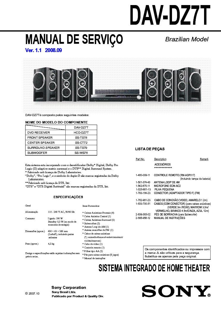 SONY DAV-DZ7T HCD-DZ7T