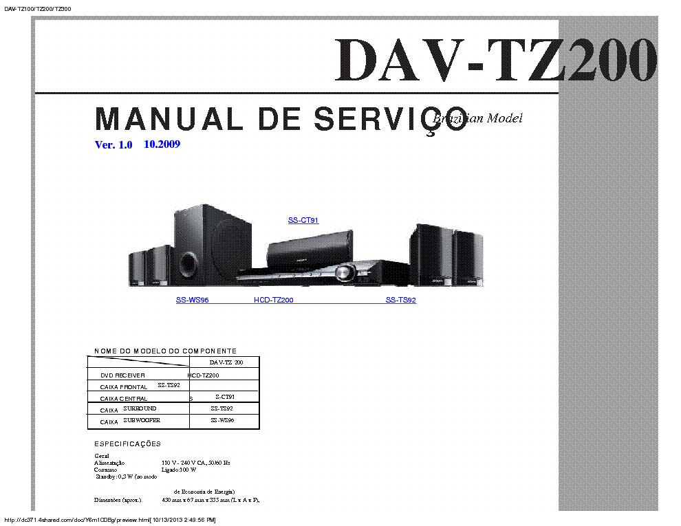 Home theater sony 500w rms hdmi /divx / 5. 1 canais dav-tz200.