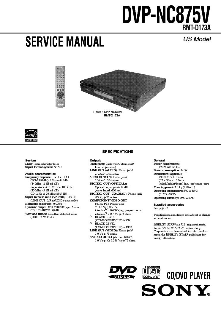 SONY DVP-NC875V service manual