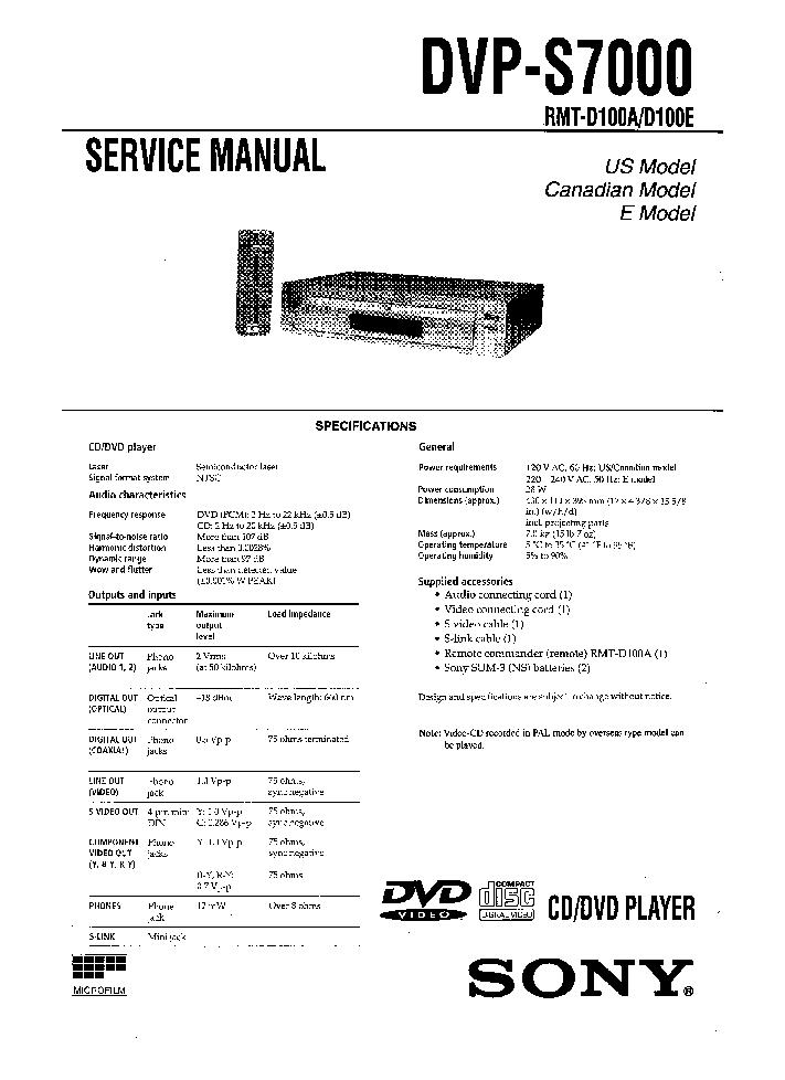 sony dvp s7000 service manual download schematics eeprom repair rh elektrotanya com jvc hr-s7000 service manual sony ev s7000 service manual