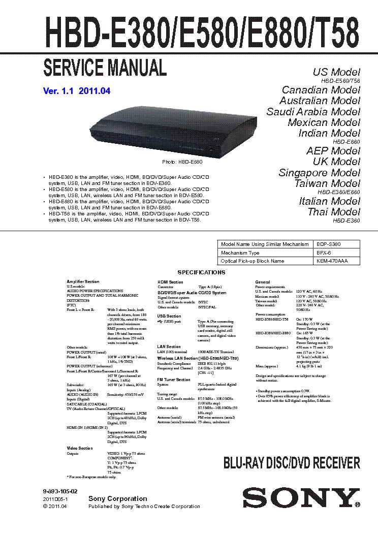 sony hbd e380 hbd e580 hbd e880 hbd t58 ver1 1 service manual rh elektrotanya com Sony BDV- E570 Sony BDV- N8100W