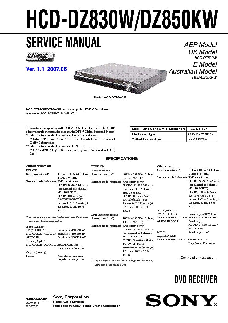SONY HC-DZ830W DZ850KW