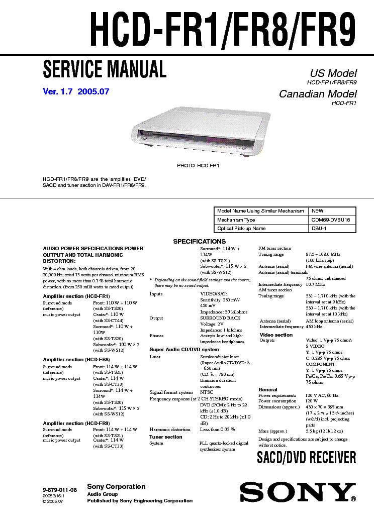 sony hcd fr1 fr8 fr9 ver1 7 service manual download schematics rh elektrotanya com Sony DAV- TZ140 Review H194 Sony BRAVIA Theater System