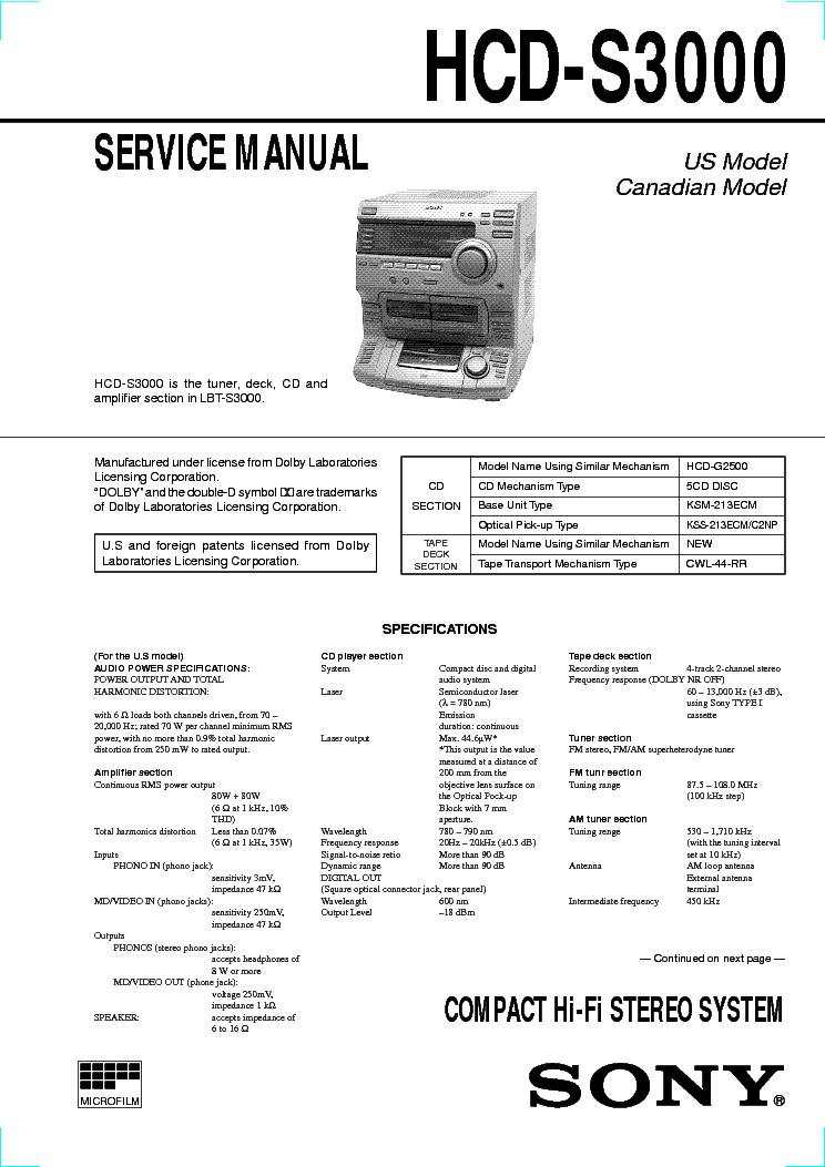 SONY HCD-S3000 SM