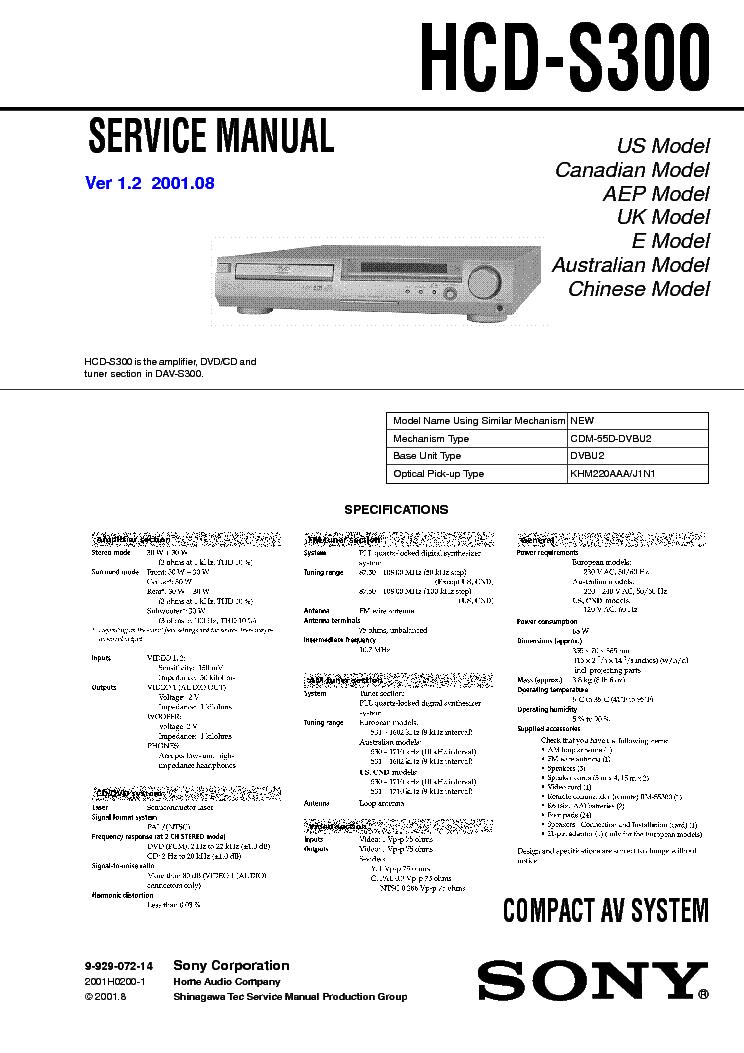 SONY HCD-S300 VER-1.2 SM