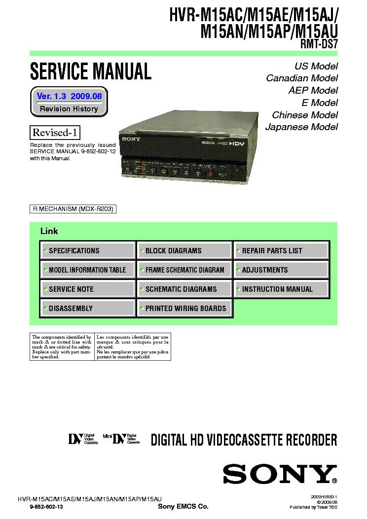 Sony hvr-m15au manual.