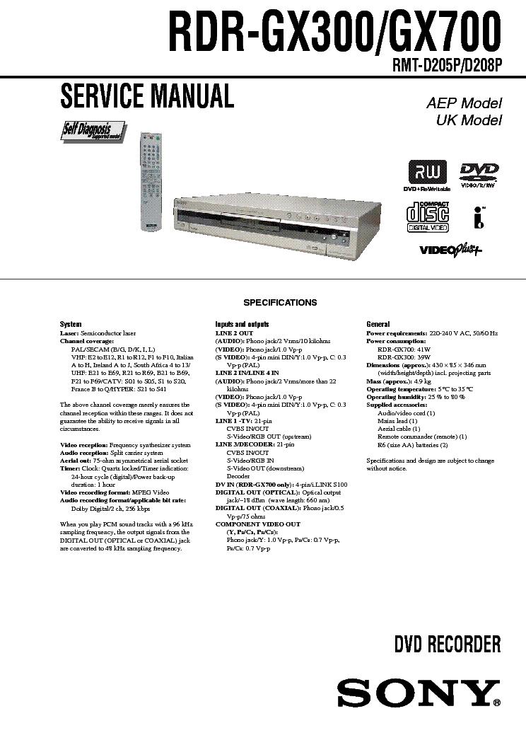 sony rdr gx300 gx700 service manual download schematics eeprom rh elektrotanya com Sony DVD Recorder Sony DVD