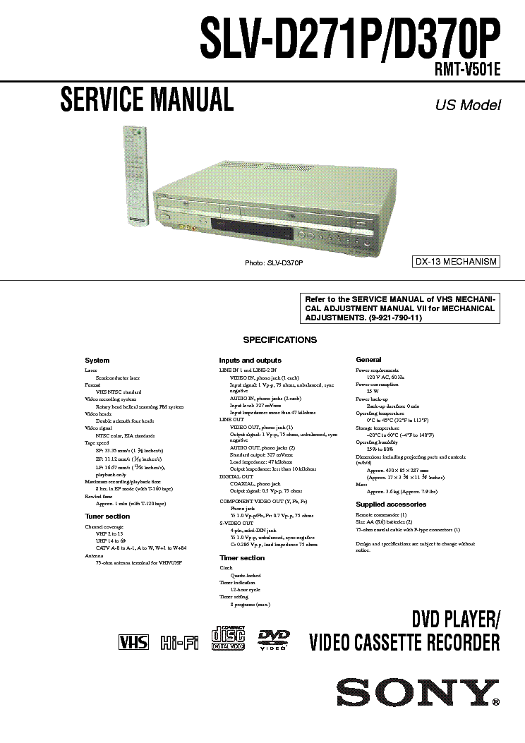 SONY SLV-D271P D370P service