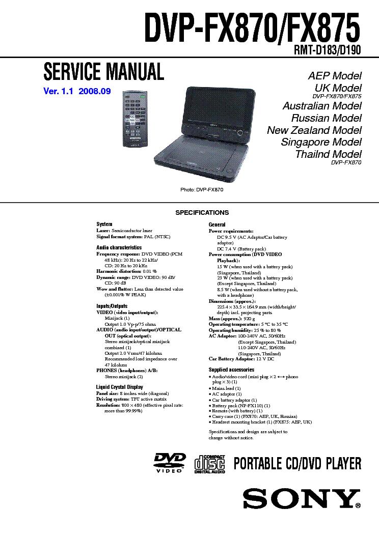 sony sony dvp fx870 fx875 ver 1 1 sm service manual download rh elektrotanya com DVD Player Schematics OBO DVD Player