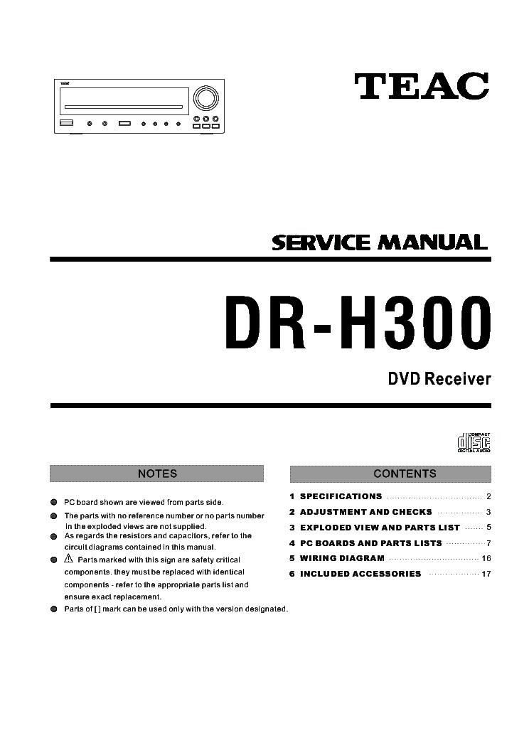 TEAC DR-H300 SM Service Manual download, schematics, eeprom