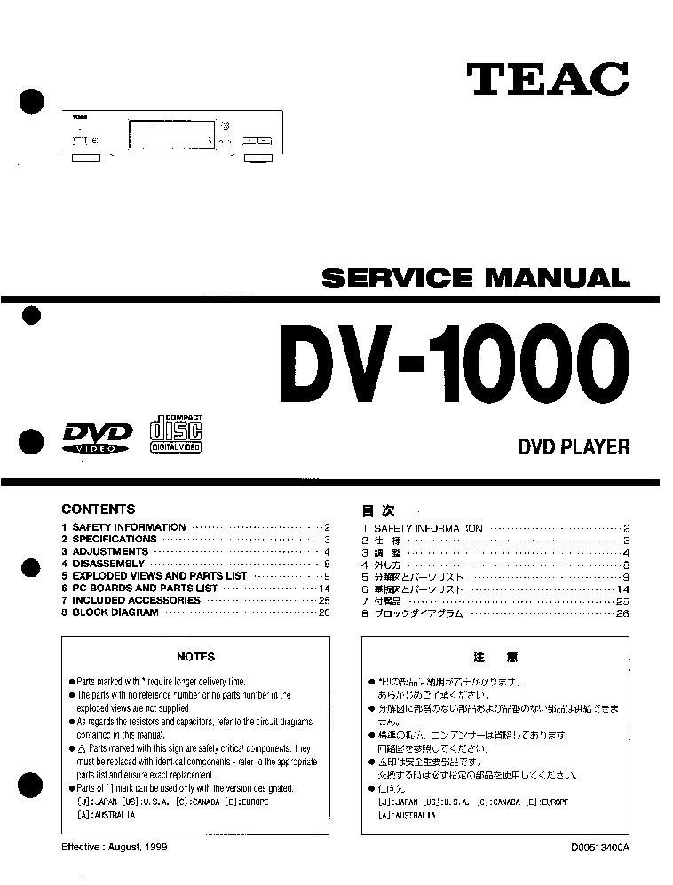 teac dv1000 sm service manual download schematics eeprom repair rh elektrotanya com Service Station Service ManualsOnline