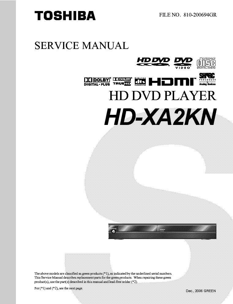 toshiba hd xa2kn hd dvd player service manual download schematics rh elektrotanya com