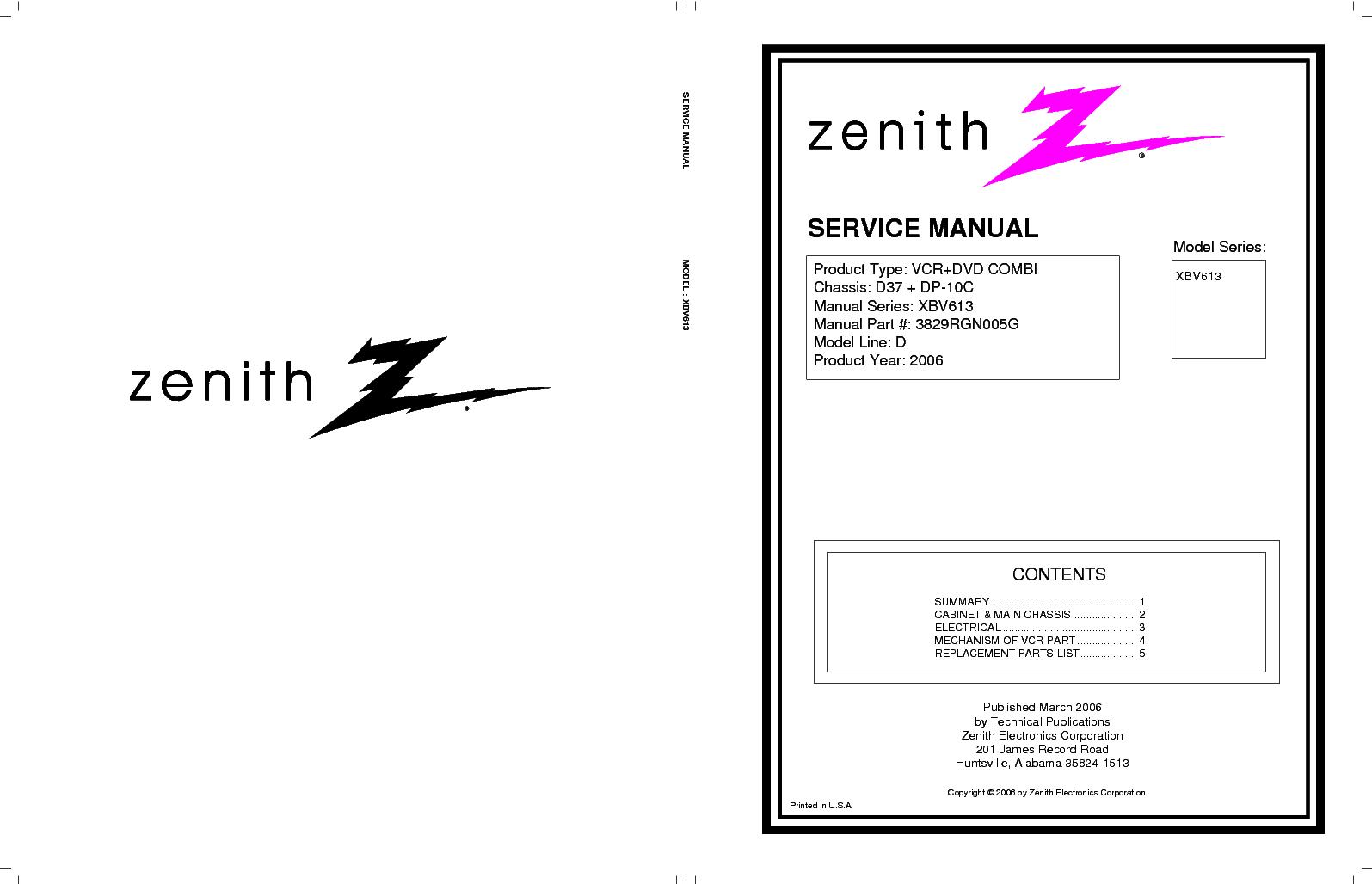 zenith xbv613 service manual download schematics eeprom repair rh elektrotanya com zenith vcr plus manual zenith dvd vcr combo manual xbr716