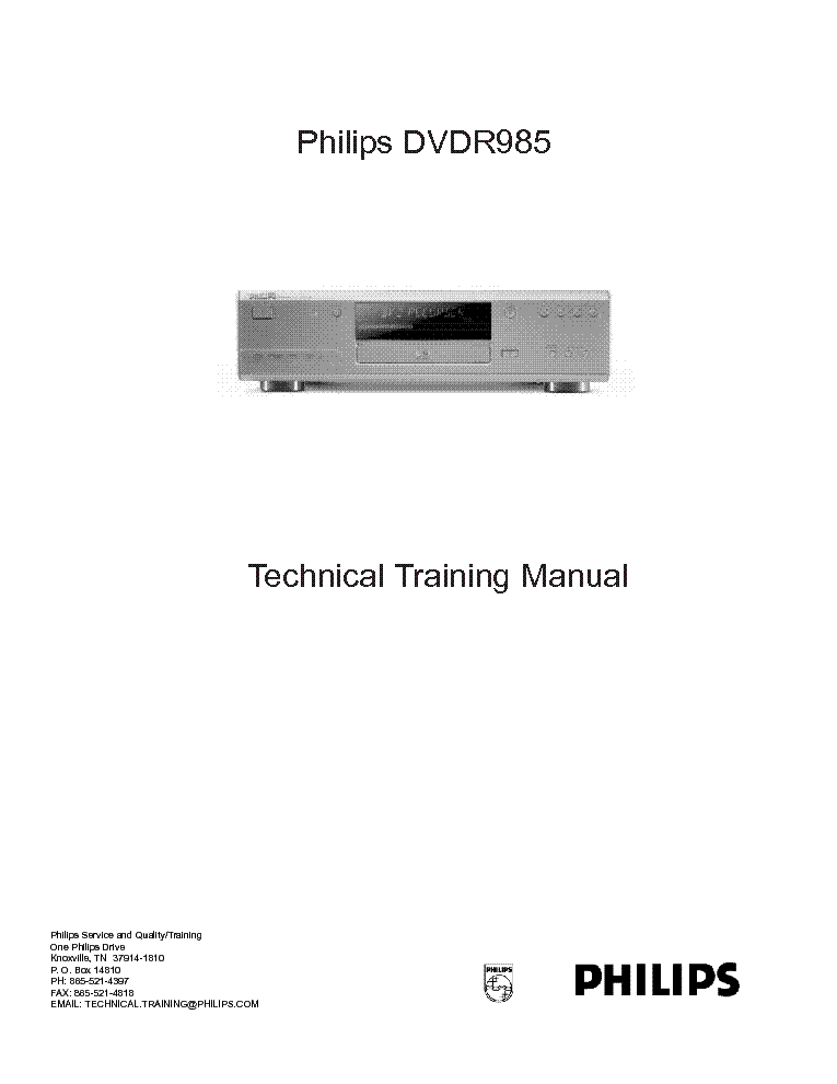 PHILIPS DVDR985 TRAINING MANUAL service manual