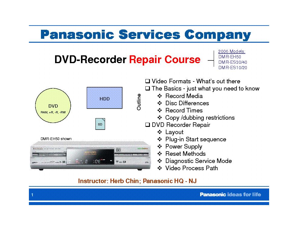 panasonic dmr eh50 es10 es20 es30 es40 repair course service manual rh elektrotanya com panasonic dmr eh50 manual pdf panasonic dvd recorder dmr-eh50 user manual