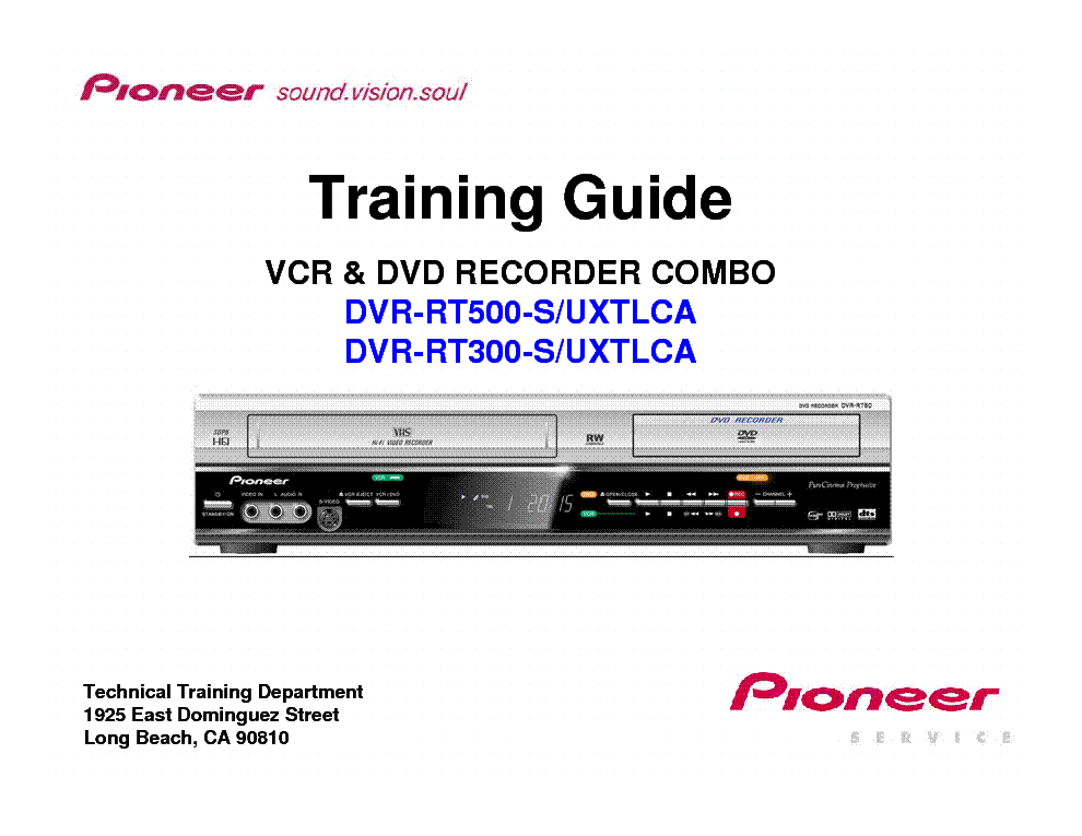 pioneer dvr rt 300 500 training guide service manual download rh elektrotanya com