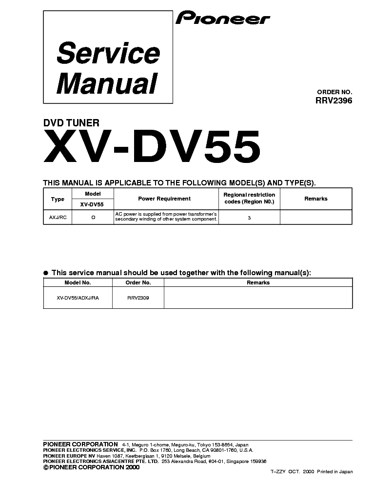 pioneer xv dv55 dvd suplement service manual download schematics rh elektrotanya com