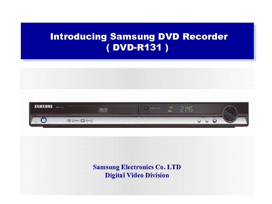 samsung dvd r131 training service manual download schematics rh elektrotanya com samsung dvd camcorder manual samsung dvd recorder & vcr dvd-vr 350 manual