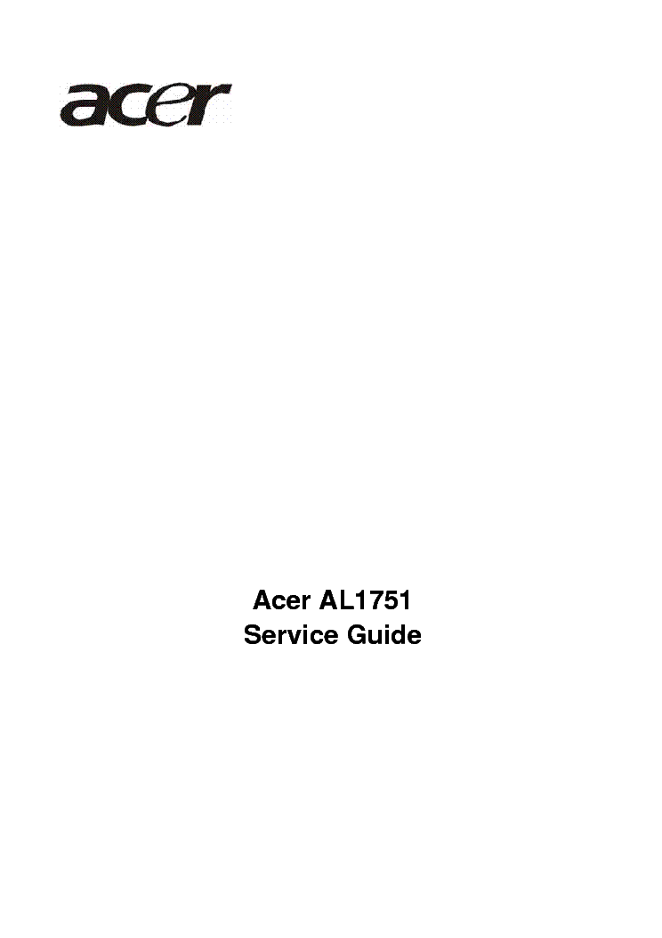 Acer Al1751 Lcd Monitor Service Manual Service Manual Download  Schematics  Eeprom  Repair Info