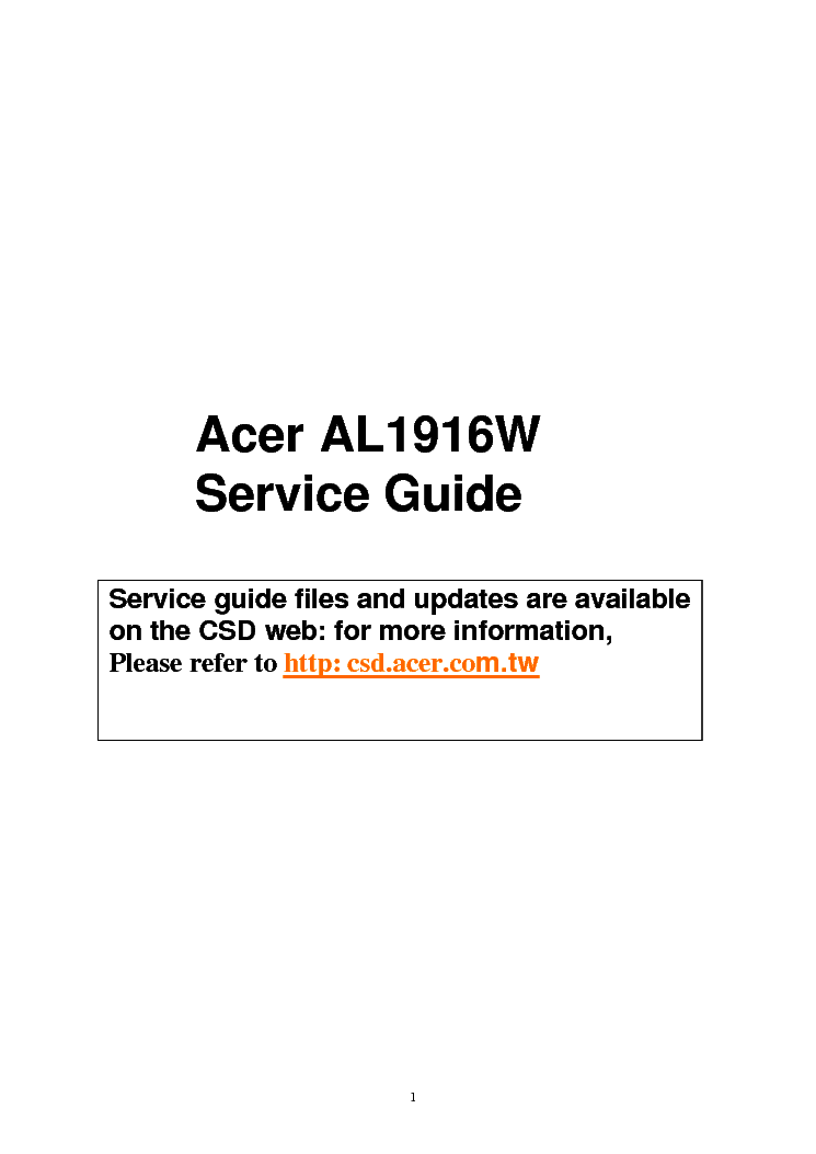 acer al1916w sm 1 service manual download schematics eeprom rh elektrotanya com acer al1916w manual pdf Acer AL1916 Input Button