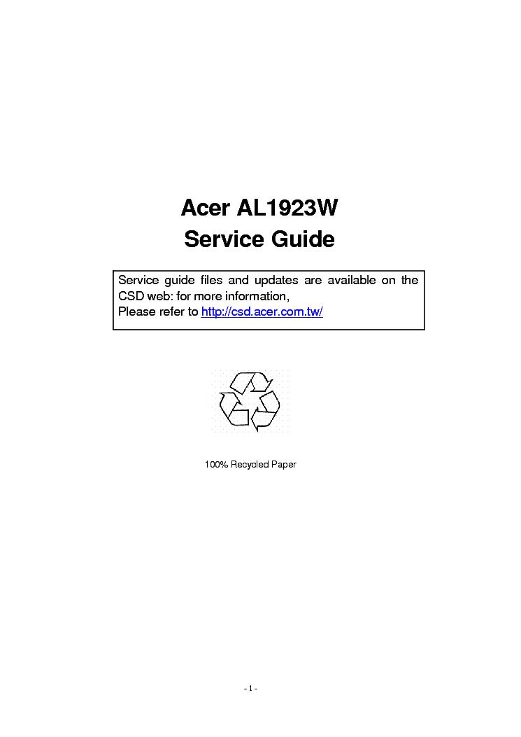 Driver UPDATE: Acer AL1923W