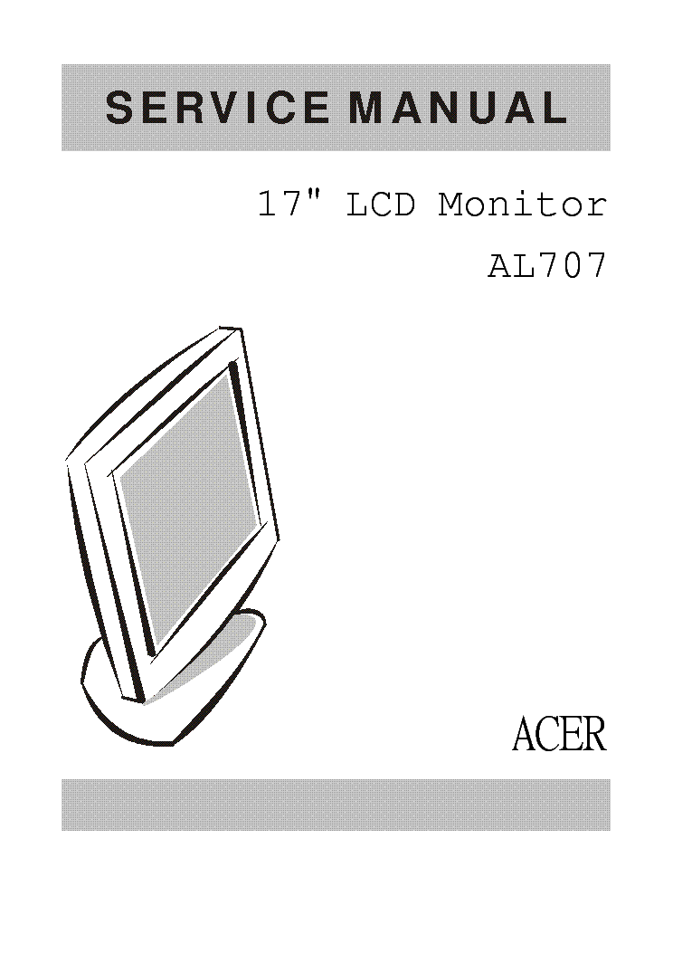 Acer Al707 Lcd Monitor Service Manual Service Manual Download  Schematics  Eeprom  Repair Info