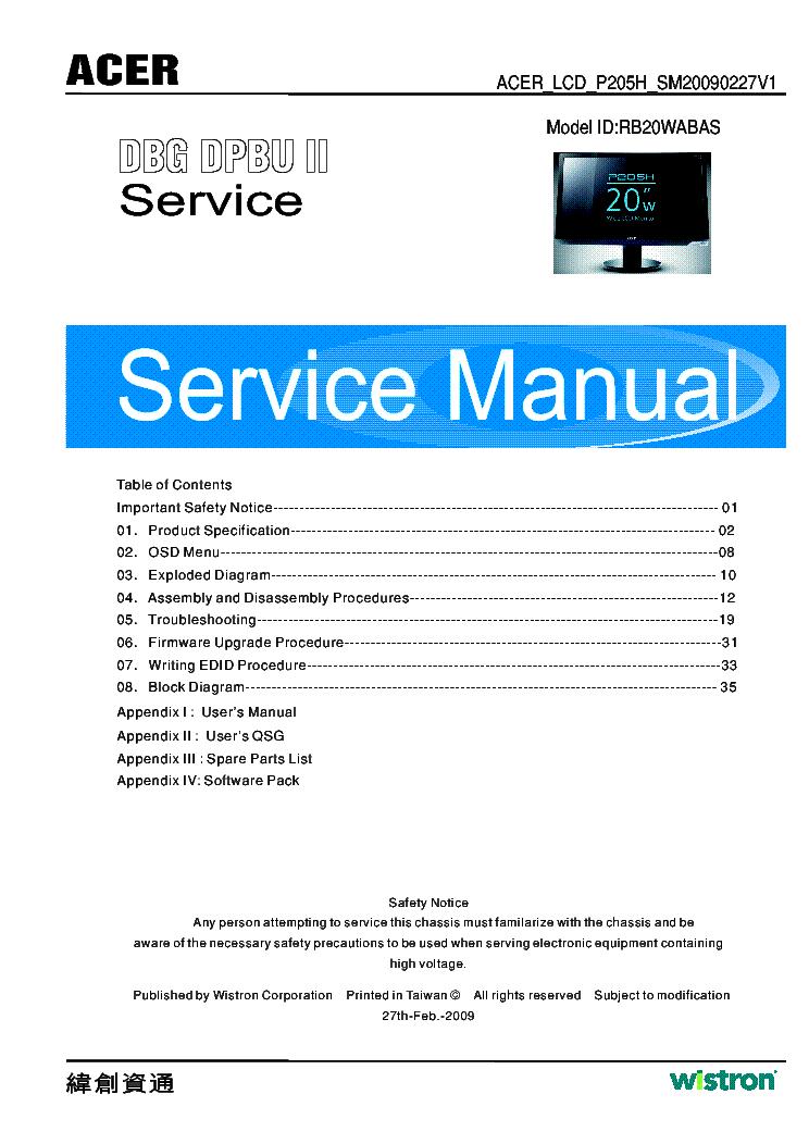Acer Al1916w Sch Service Manual Download  Schematics