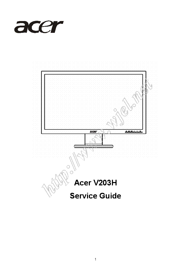 Acer V203h 105 Lcd Monitor 2008 Sm Service Manual Download