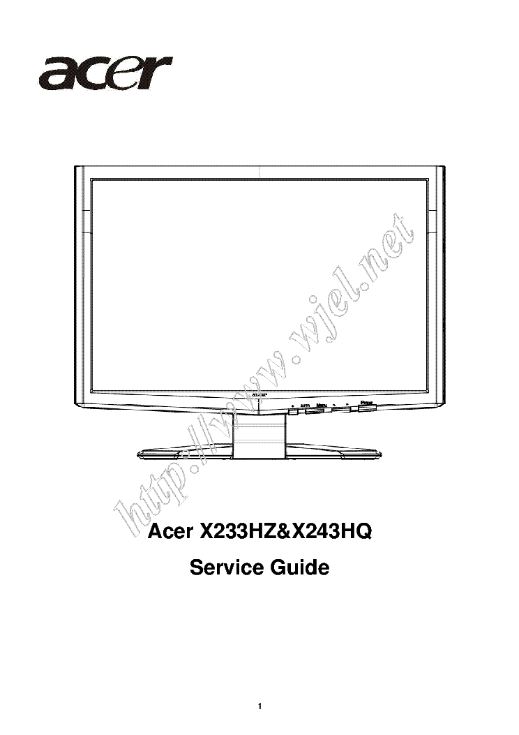 Acer V233hz V243hq 638 Lcd Monitor 2008 Sm Service Manual Download  Schematics  Eeprom  Repair