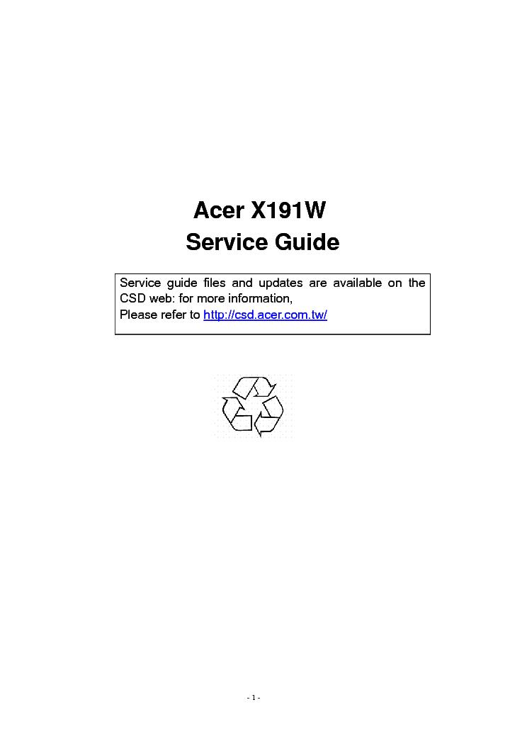 acer x191w lcd monitor service manual download schematics eeprom rh elektrotanya com Acer Widescreen LCD Monitor acer lcd monitor al1916w service manual